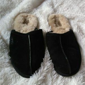 UGG scuff black leather sheepskin slippers men 8
